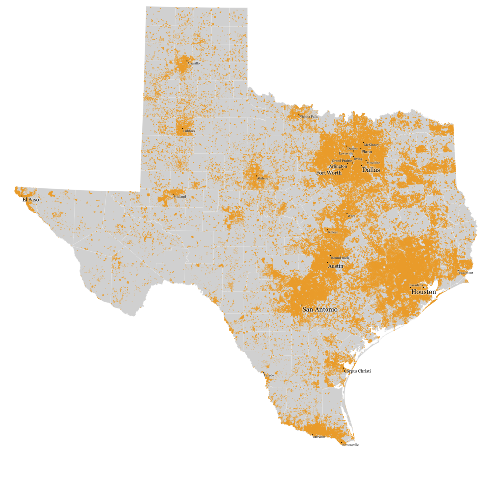 2010 U.S. Census, each dot = 1 person