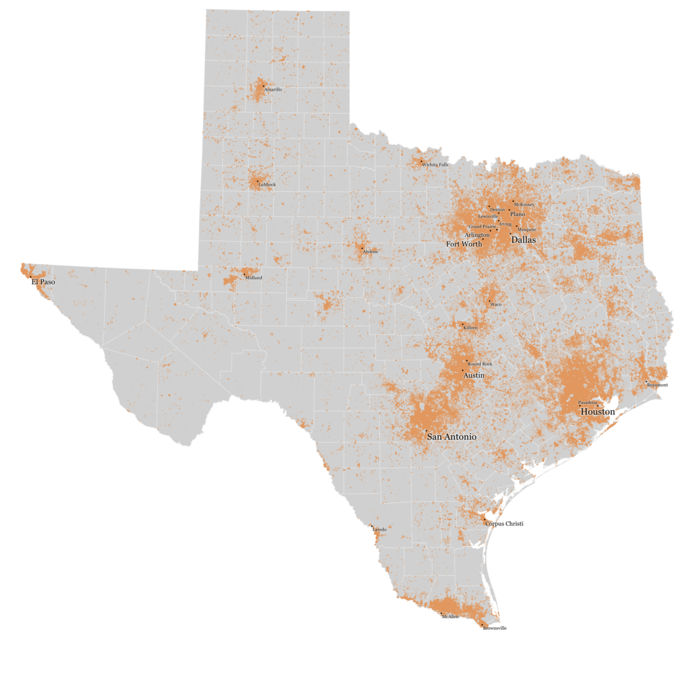 2010 U.S. Census, each dot = 10 persons