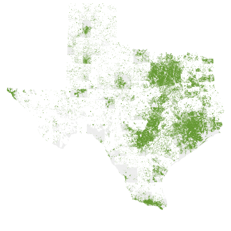 2010 U.S. Census, each dot one person